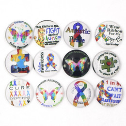 Wholesale Puzzle Rings - Free Shipping Noosa Chunky 18mm Snaps Button DIY Interchangeable Cabochon Glass Puzzle Autism Ribbon Snaps Buttons for Bracelet Rings
