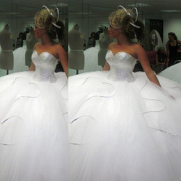 Wholesale Plus Size Ballgowns - 2015 2014 Bling Bling big poofy wedding dresses Custom Made Plus Size Tulle Ball Gown Beads Crystal vestidos de novia puffy Ballgown Dress