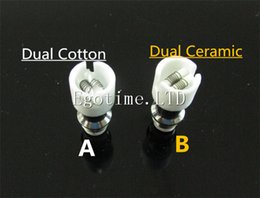 Wholesale E Cigaratte - Best Dual Cotton Ceramic Coil Head Replacement Core for Glass Globe tank vhit Wax Vaporizer Glass dry Tank E Cigaratte Dry Glass atomizer