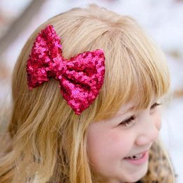 Wholesale Girls Hair Accessories Hairclips - Children Hair Accessories Sequin Bow Barrettes Baby Hair Accessories Hair Slides 2015 Girl Hair Clips Childrens Accessories Hairclips C8916
