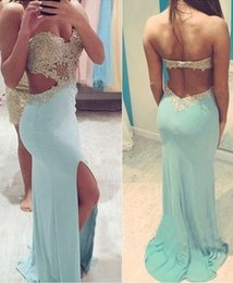 Wholesale Champagne Chiffon Evening Gowns - 2015 Backless Mermaid Lace Sexy Beaded Prom Dresses Sweetheart Satin Sweep Train Prom Gowns Light Sky Blue Evening Dresses P76
