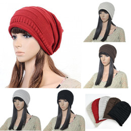 Wholesale Knitting Sweater Design Patterns - Women New Design Caps Twist Pattern Women Winter Hat Knitted Sweater Fashion Loose beanie Hats For Women 5 colors
