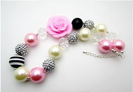 Wholesale Wood Flowers Wholesale - 2015 New Fashion Pink Rose Flower Children Necklace Pendant Beaded Chunky Bubblegum Neckalces Pendants Girls Kids Gift jewelry