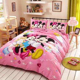 Wholesale Minnie Duvet - Pink Minnie Home textile New 3D Reactive Printing Bedding duvet cover Bedding sheet bedspread pillowcase set cotton Bedding Set Queen size