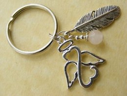 Wholesale Metal Fairy Charms - 10PC Vintage Silvers Guardian Angel Feather Charms Key Chains Ring Bag Keychain For Keys Car DIY Accessories Jewelry Gifts HOT U228