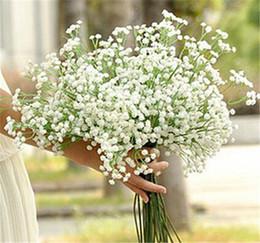 Wholesale Wholesale Fake Wedding Bouquets - New Arrive Gypsophila Baby's Breath Artificial Fake Silk Flowers Plant Home Wedding Decoration