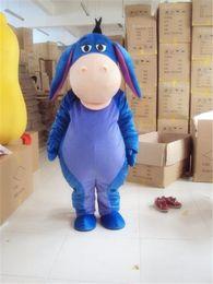 Wholesale Mascot Costumes Donkey - Adult Size Blue Eeyore Mascot Costume Animal Donkey Cartoon Holiday Fancy Dress Birthday Party Suit Free Shipping