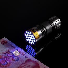 Wholesale Uv Power Led Lamp - High power Portable 21 LED UV flashlight Black Ultra violet Flashlight Torch Light Lamp 3AAA Aluminium Bettary Alloy metarial