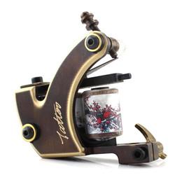 Wholesale 12 coil tattoo guns - Wholesale- HANDMADE copper Tattoo Machine 12 coils TM-8808 beautifully carved tattoo gun