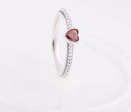 Wholesale One Love Heart - High-quality 100% 925 Sterling Silver One Love Ring with Red CZ European Pandora Style Jewelry Charm