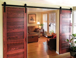 Doyhd 8ft 10ft 12ft 13ft Basic Style Double Sliding Barn Wood Door Closet Door Track Kit Hardware