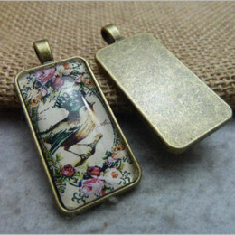 Wholesale Rectangle Pendant Trays - Jewelry Accessories Antiqued Bronze Vintage Alloy Rectangle Cameo Cabochon Base Setting Tray 38*19mm Necklace Pendant 10pcs