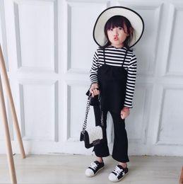 Wholesale Good Brand Black Suit - girls 2 pcs set full sleeve t-shirt+flare pants fashion spring good qaulity soft girls suit A491
