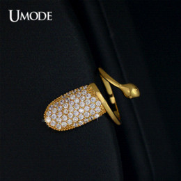 Wholesale Nails Jewerly - UMODE Sparkling Fingernail Yellow Gold Plated Top Grade Swiss CZ Diamond Adjustable Nail Rings Women Fashion Jewerly UR0140