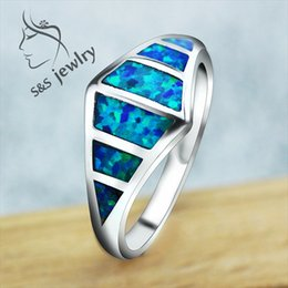 Wholesale Rings For Men Opal - Top Quality OL Style Rings Elegant Blue Opal Stone 925 Sterling Silver Rings for Women and Men