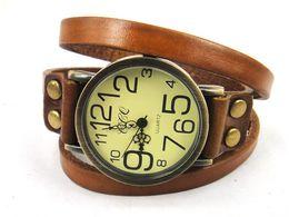 Wholesale Digit Wristwatch - Free shipping new Genuine Cowhide leather vintage watch for man women big& small digit quartz wristwatches