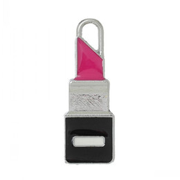 Wholesale Wholesale Lipstick Jewelry Pendants - Jewelry Findings Charm Pendants Lipstick Silver Tone Enamel Fuchsia 28.0mm x 10.0mm,20 PCs