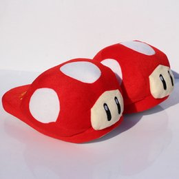 Wholesale Mushroom Slippers - Super Mario Bros Red Mushroom Plush Slippers Adult Indoor Warm Slipper 28cm Free shipping Retail