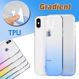 Wholesale Silicone Case Iphone Dust Plug - Gradient Color Case Colorful Slim Ultra Thin Transparent Clear Soft TPU Silicone Shockproof With Dust Plug Cover For iPhone X 8 7 Plus 6 6S