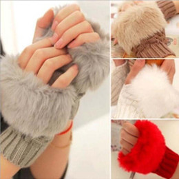 Wholesale Fingerless Crochet Gloves - Autumn And Winter Wool Mixed Artificial Fur Warm Gloves Ladies Half Finger Gloves Plush Thick Knitted Crochet Touch Gloves