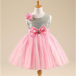 Wholesale Kids Dresses Order - Sample Order Flower Girl Dresses For Wedding Party Bling Bowknot Princess Tutus Girl Dress Rose Vest Kids Evening Gownser Girl Dresses