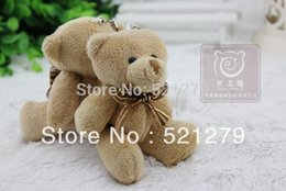 Wholesale Bouquet Teddy - Wholesale-T108 Free Shipping 24pcs lot Mini Stuffed Jointed Teddy Bear with Bow-Tie,bouquet packing Teddy Bear doll,4.7inch,brown color