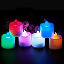 Wholesale Plastic Party Tea Cups - Romantic Candles Flickering Flicker Flameless LED Tealight Tea Candle Light Battery ABS Plastic Valentine's Day Birthday Party Wedding Bar