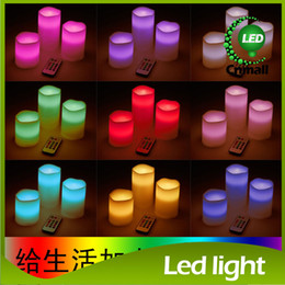 Wholesale Led Battery Changing Color Light - LED Candle Lights Wax Battery Electronic 4 or 8 hour Remote Control Color-changing Light LED Candle Lamps Wedding Christmas Decorate Light