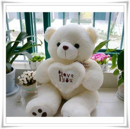 "Wholesale Huge Soft Plush Teddy Bear - Wholesale-Hot 50CM 70cm 90cm 3 ""I love you""Giant Huge Big Soft Plush White Teddy Bear Halloween Christmas Gift toys brand Clever"