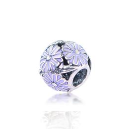 Sonnenförmige halskette online-Sun Flower Purple Einzigartige Form Charm Bead Großes Loch Mode Frauen Schmuck Europäischen Stil Für DIY Armband Halskette