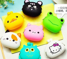 Wholesale Colored Candy Bags - Candy Colored Girls Coin Bags 2015 new arrival cute animal silicone coin purses kids purse kids purse candy bags cheap purse m000445