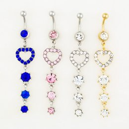 Wholesale Silver Belly Button Ring - D0530 ( 3 colors ) body jewelry Nice style Navel Belly ring 10 pcs mix colors stone drop shipping factory price