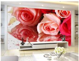 Wholesale Wallpaper Love Flower - Papel de parede Romantic love flowers roses reflection non-woven wallpaper new large murals costomize size 20152870