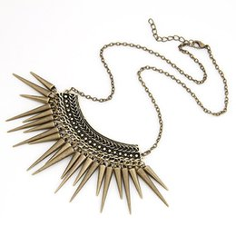 Wholesale Vintage Spiked Necklace - Wholesale-New Vintage Jewelry Punk Spike Statement Necklaces Pendants Choker Collier Collares for women 2016 Accessories Bijuterias