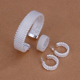 Alta calidad 925 de plata de ley conjunto de joyería de malla de cobre DFMSS275 a estrenar Venta directa de fábrica 925 plata anillo de pendiente de pulsera desde fabricantes