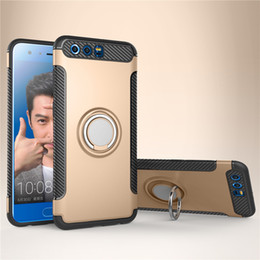 Wholesale Case V9 - Car Stand Magnet Suction Bracket Finger Ring Holder Case For Huawei honor 9 V9 Play 7X Maimang 6 mate 10 lite Cover 5pcs