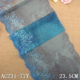 Wholesale Voile Print Fabric - 1KG 77Yard 23cm Print Tu3le Embroidered Lace Trim Embroidery Voile Guipure Lace Fabric Dentelle Sewing Accessories Blue AC0549