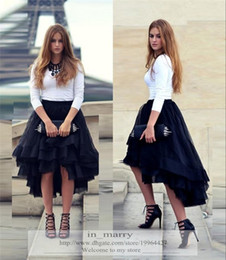 Wholesale Orange Tutu Skirts For Adults - 2016 Navy Blue High Low Short Tutu Skirt For Women Flouncing Ruffles Multiple Layers New Fashion Street Formal Party Adult Women Tulle Skirt