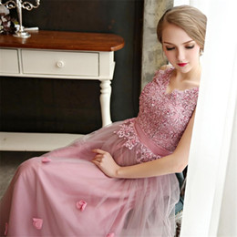 Wholesale Long Thin Prom Dresses - Beautiful Prom Evening Dresses 2015 With Long Section Lace Beads Floor Length Sexy V Neck Design Thin Belt Lace Up Bridesmaid Prom Gowns