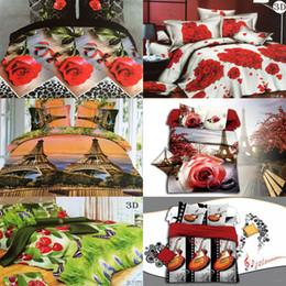 Wholesale Romantic Queen Size Bedding - Wholesale-High Quality Romantic Couple 3D Rose Flower Bedding Set 100% Cotton 4PCs King Queen Size Comfortable Beed Sheet Sets Ship By DHL