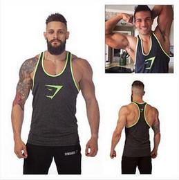 Wholesale Undershirt Tank Tops - 2016 Sprint New Style Gymshark Tanks Men Brand Muscle Tank Top Gym Shark Fitness Clothes Men Bodybuilding Vest Undershirt Free Shipping