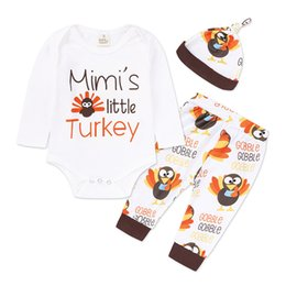 Wholesale Wholesale Clothing Turkey - INS Baby Clothes Thanksgiving Cartoon Turkey Letter Print Hat Long Sleeves Romper Pants Boys Girls 3PCS Kids Clothing Sets Free Shipping 864