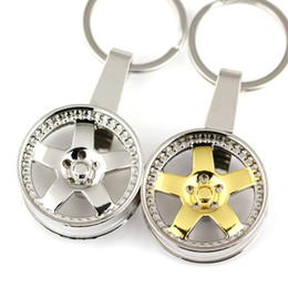 Wholesale Rims Keychain - Fashion Car Accessories Interior Keychain Metallic Wheel Rim Auto Parts Model Key Chain Keyring Key Fob Free Shipping