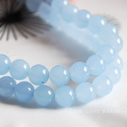 Wholesale Natural Blue Chalcedony Bracelet - Wholesale-natural blue chalcedony 4-14mm round loose bead bracelet necklace earrings making jewelry craft findings handmade materials