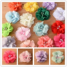 Wholesale Little Girls Wholesale Accessories - 180pcs Chiffon Flower Pearl rhinestone handtailor flower Perfect for Newborn Baby for Little Girls hair bows accessories