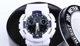 Wholesale Digital Display Box - new with round box , dual display sports watch ga100 G Black Display LED Fashion army military shocking watches men Casual Watches Ca