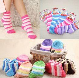 Wholesale Ladies Hosiery Wholesale - Ladies Socks stripe Women Fuzzy Socks Winter warm Towel Candy Color Thick Floor Socks Hosiery Plush sock