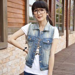 Wholesale Small Waistcoat - Wholesale-3XL plus size 2016 women's fashion short big size jacket turn-down collar waistcoat sleeveless denim vest jeans vest small cape