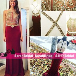 Wholesale Designer Beaded Tops - 2015 High Quality Luxurious Couture Evening Dresses Designer Arabic Celebrity Radiant Crop Top Two Piece Formal Prom Pageant Party Wear Gown