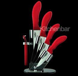 2017 профессиональный шеф-повара керамический нож 5шт набор 6+5+4+3 дюйм + овощечистка + акриловый блок FDA LFGB изготовлен из оксида циркония Бесплатная доставка от Поставщики блоки ножей